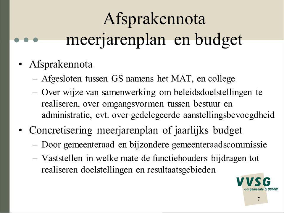 Afsprakennota meerjarenplan en budget •Afsprakennota –Afgesloten tussen GS namens het MAT, en college –Over wijze van samenwerking om beleidsdoelstellingen te realiseren, over omgangsvormen tussen bestuur en administratie, evt.