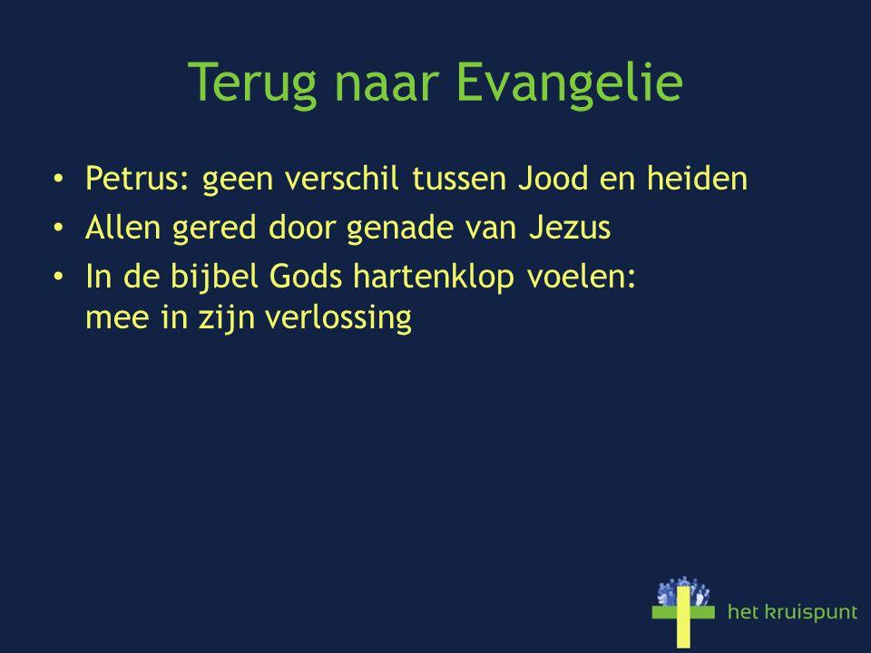 Terug naar Evangelie • Petrus: geen verschil tussen Jood en heiden • Allen gered door genade van Jezus • In de bijbel Gods hartenklop voelen: mee in zijn verlossing