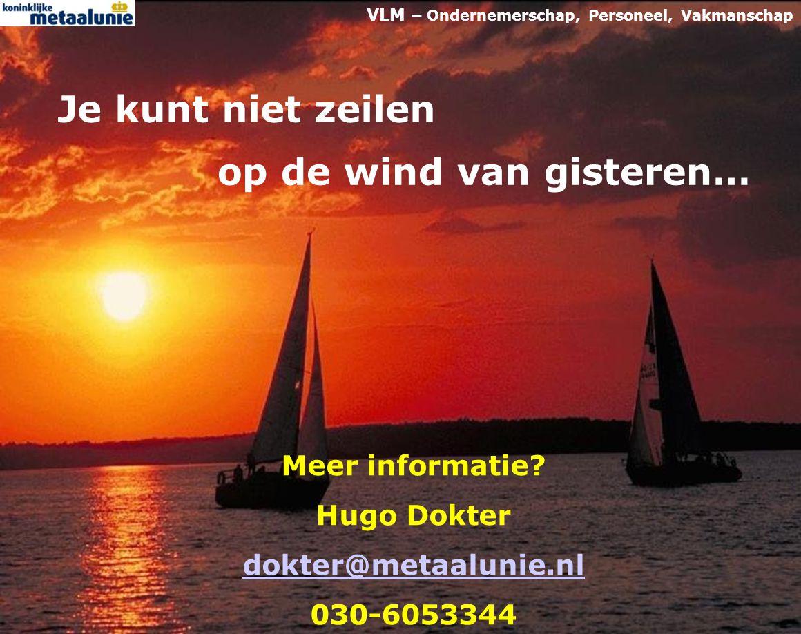 VLM - Verbetering Leercultuur in de Metaal 10 Meer informatie? Hugo Dokter dokter@metaalunie.nl 030-6053344 Je kunt niet zeilen op de wind van gistere