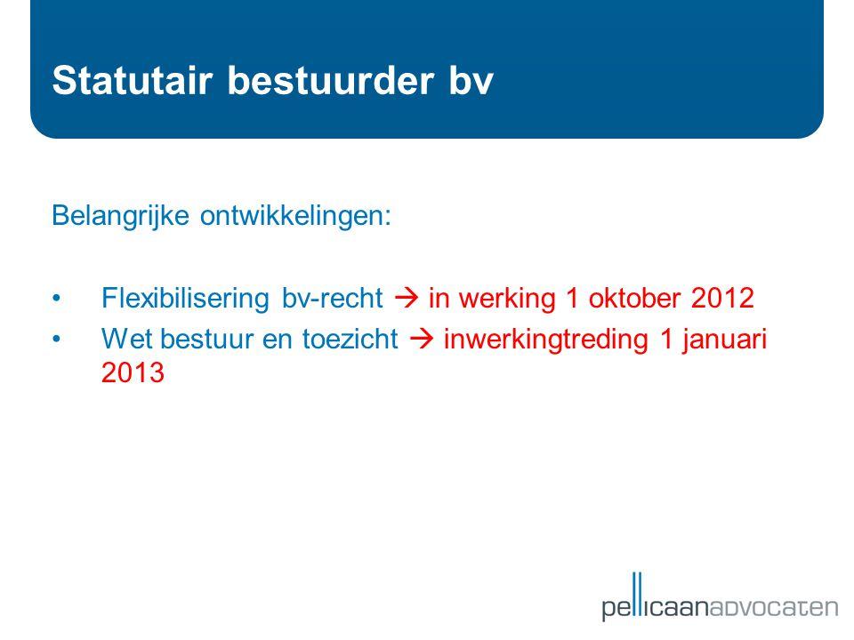 Statutair bestuurder bv Belangrijke ontwikkelingen: •Flexibilisering bv-recht  in werking 1 oktober 2012 •Wet bestuur en toezicht  inwerkingtreding