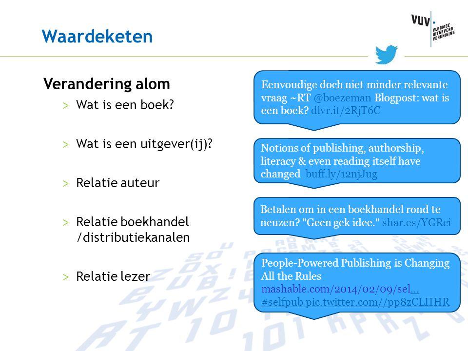 Waardeketen Verandering alom > Wat is een boek? > Wat is een uitgever(ij)? > Relatie auteur > Relatie boekhandel /distributiekanalen > Relatie lezer B