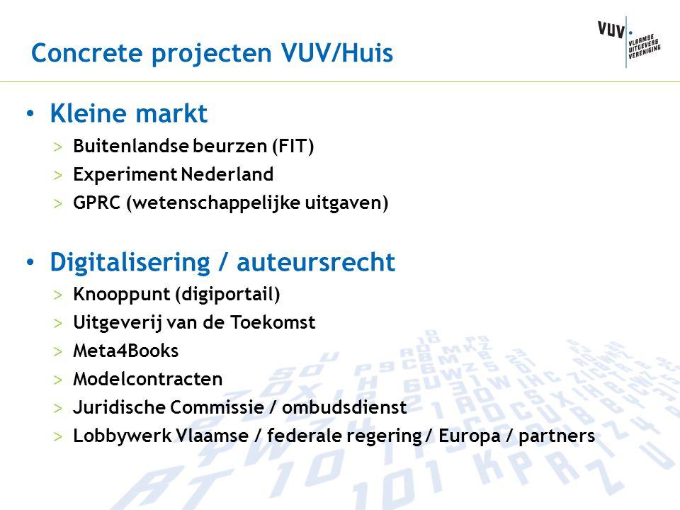 Concrete projecten VUV/Huis • Kleine markt > Buitenlandse beurzen (FIT) > Experiment Nederland > GPRC (wetenschappelijke uitgaven) • Digitalisering /