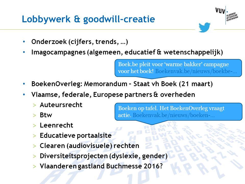 Lobbywerk & goodwill-creatie • Onderzoek (cijfers, trends, …) • Imagocampagnes (algemeen, educatief & wetenschappelijk) • BoekenOverleg: Memorandum –
