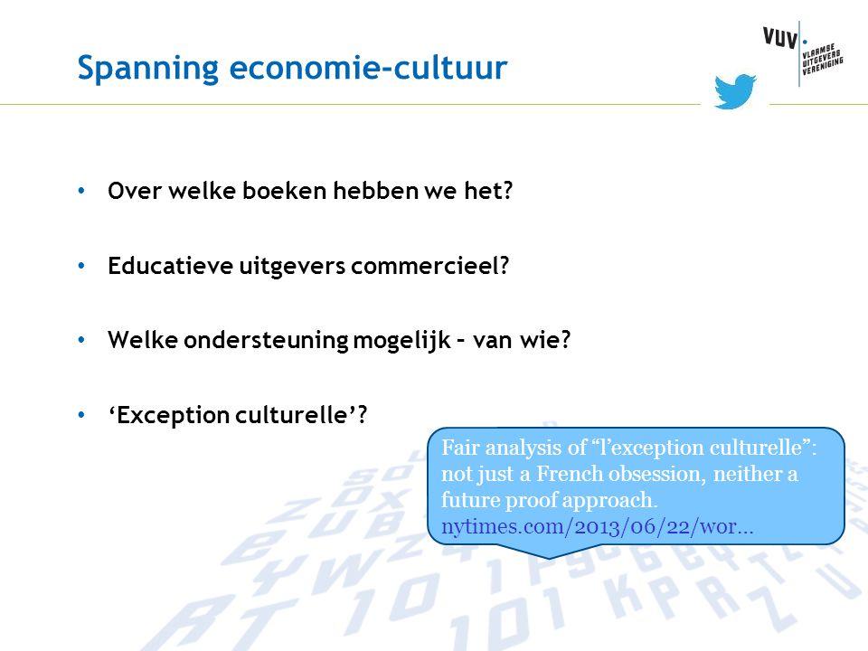 Spanning economie-cultuur • Over welke boeken hebben we het? • Educatieve uitgevers commercieel? • Welke ondersteuning mogelijk – van wie? • 'Exceptio