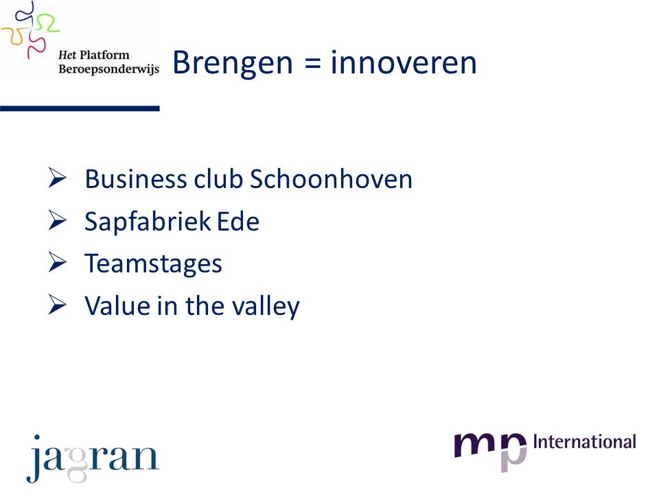 Brengen = innoveren  Business club Schoonhoven  Sapfabriek Ede  Teamstages  Value in the valley
