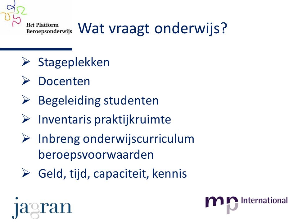 Wat vraagt onderwijs?  Stageplekken  Docenten  Begeleiding studenten  Inventaris praktijkruimte  Inbreng onderwijscurriculum beroepsvoorwaarden 