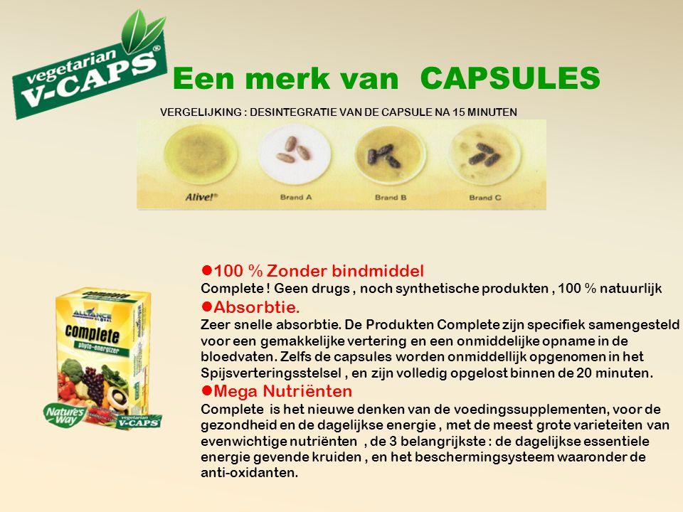 Een merk van CAPSULES VERGELIJKING : DESINTEGRATIE VAN DE CAPSULE NA 15 MINUTEN  100 % Zonder bindmiddel Complete .