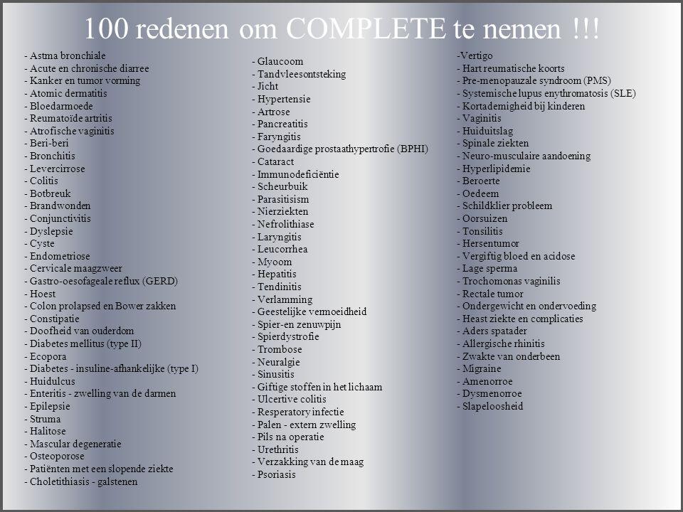 100 redenen om COMPLETE te nemen !!.
