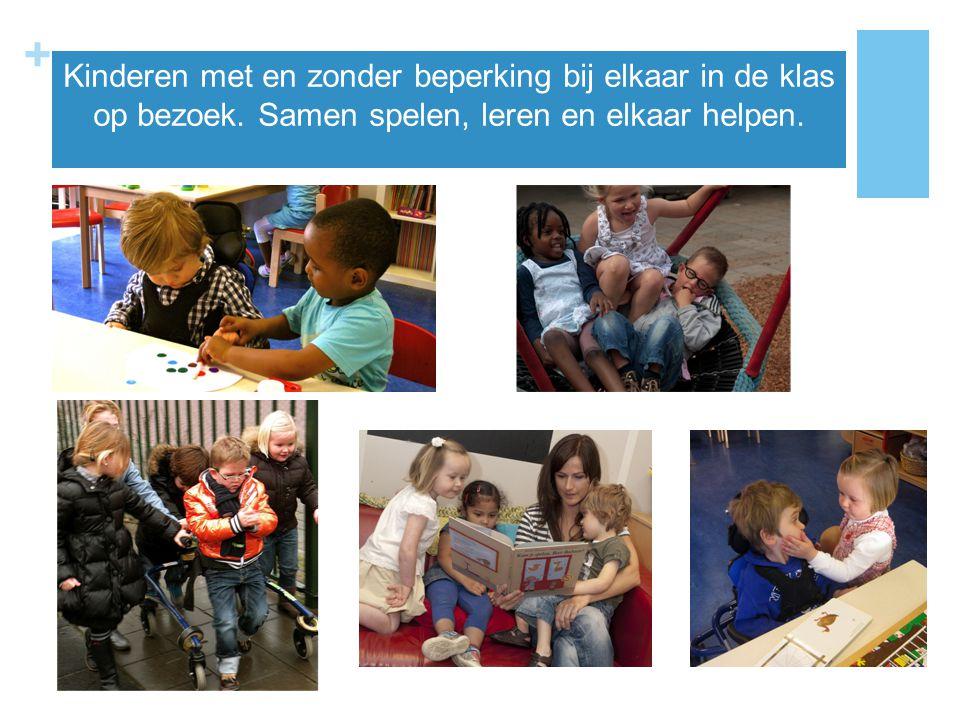 + Kinderen met en zonder beperking bij elkaar in de klas op bezoek. Samen spelen, leren en elkaar helpen.