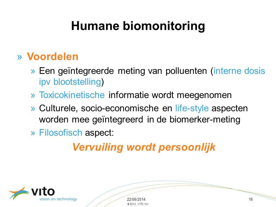 22/06/201418 © 2010, VITO NV »Voordelen »Een geïntegreerde meting van polluenten (interne dosis ipv blootstelling) »Toxicokinetische informatie wordt