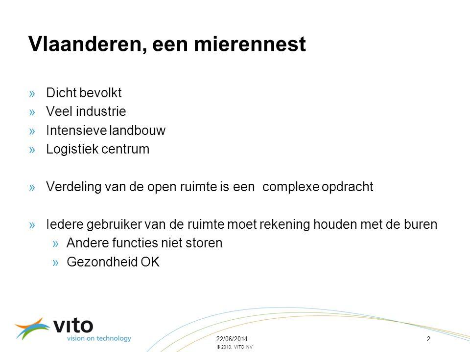 22/06/20142 © 2010, VITO NV Vlaanderen, een mierennest »Dicht bevolkt »Veel industrie »Intensieve landbouw »Logistiek centrum »Verdeling van de open r