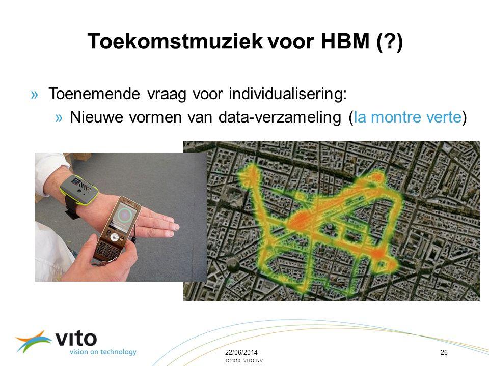 22/06/201426 © 2010, VITO NV »Toenemende vraag voor individualisering: »Nieuwe vormen van data-verzameling (la montre verte) Toekomstmuziek voor HBM (