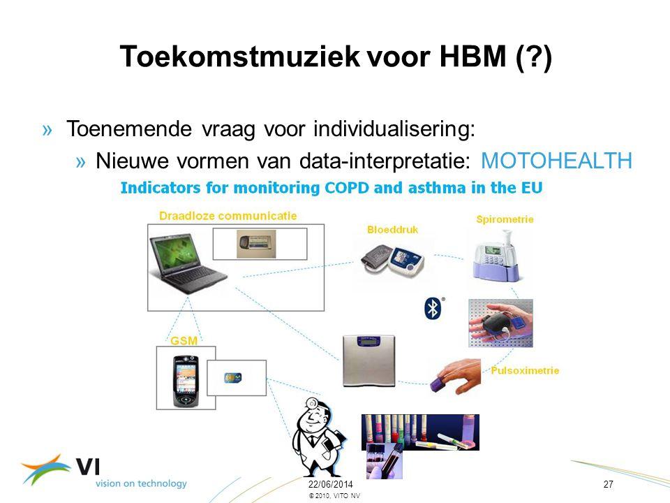 22/06/201427 © 2010, VITO NV »Toenemende vraag voor individualisering: »Nieuwe vormen van data-interpretatie: MOTOHEALTH Toekomstmuziek voor HBM (?)