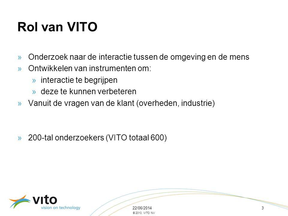 22/06/20143 © 2010, VITO NV Rol van VITO »Onderzoek naar de interactie tussen de omgeving en de mens »Ontwikkelen van instrumenten om: »interactie te