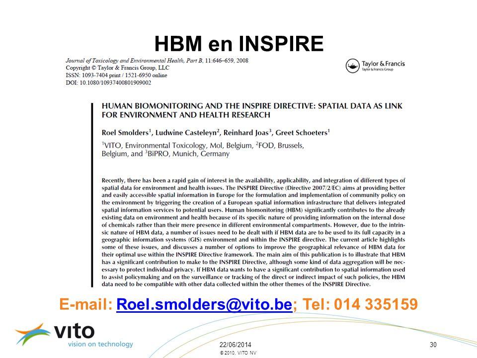 22/06/201430 © 2010, VITO NV HBM en INSPIRE E-mail: Roel.smolders@vito.be; Tel: 014 335159Roel.smolders@vito.be