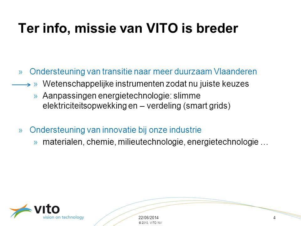22/06/20144 © 2010, VITO NV Ter info, missie van VITO is breder »Ondersteuning van transitie naar meer duurzaam Vlaanderen »Wetenschappelijke instrume