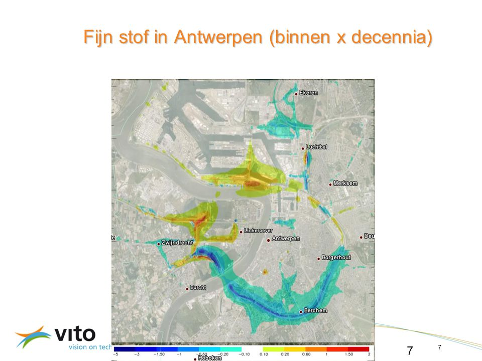 22/06/20147 © 2010, VITO NV 22/06/2014 7 Fijn stof in Antwerpen (binnen x decennia)