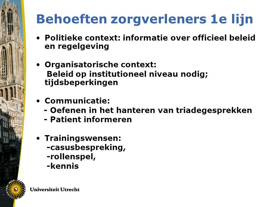 Behoeften zorgverleners 1e lijn •Politieke context: informatie over officieel beleid en regelgeving •Organisatorische context: Beleid op institutionee