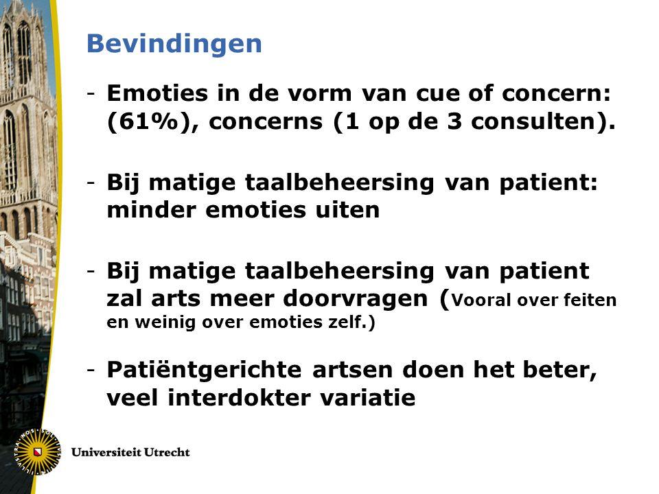 Bevindingen -Emoties in de vorm van cue of concern: (61%), concerns (1 op de 3 consulten). -Bij matige taalbeheersing van patient: minder emoties uite