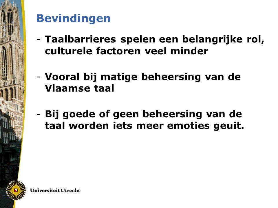 Bevindingen -Taalbarrieres spelen een belangrijke rol, culturele factoren veel minder -Vooral bij matige beheersing van de Vlaamse taal -Bij goede of geen beheersing van de taal worden iets meer emoties geuit.