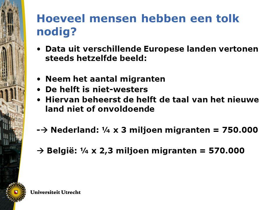 Hoeveel mensen hebben een tolk nodig? •Data uit verschillende Europese landen vertonen steeds hetzelfde beeld: •Neem het aantal migranten •De helft is