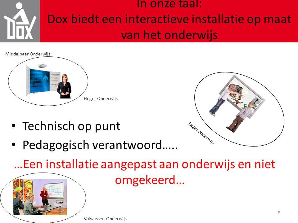 8 In onze taal: Dox biedt een interactieve installatie op maat van het onderwijs • Technisch op punt • Pedagogisch verantwoord….. …Een installatie aan