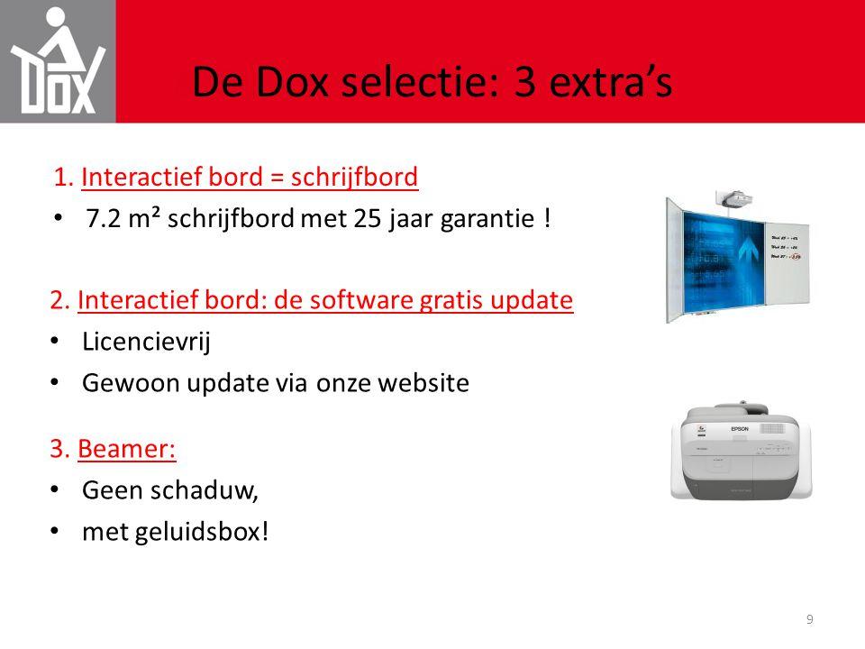 9 De Dox selectie: 3 extra's 1. Interactief bord = schrijfbord • 7.2 m² schrijfbord met 25 jaar garantie ! 2. Interactief bord: de software gratis upd