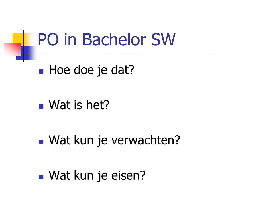 PO in Bachelor SW  Hoe doe je dat?  Wat is het?  Wat kun je verwachten?  Wat kun je eisen?