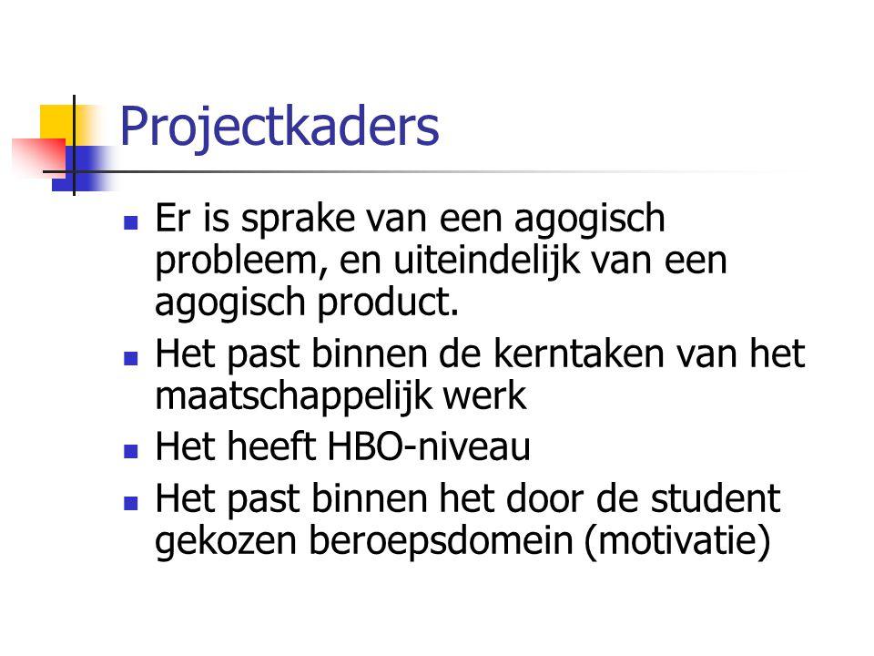 Projectkaders  Er is sprake van een agogisch probleem, en uiteindelijk van een agogisch product.  Het past binnen de kerntaken van het maatschappeli