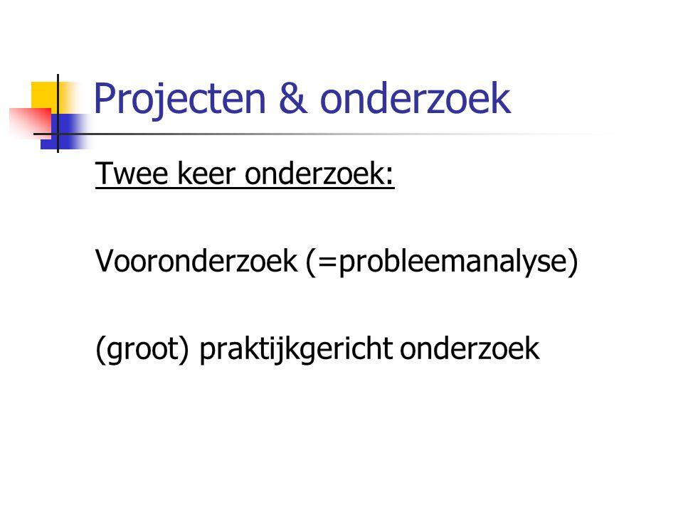 Projecten & onderzoek Twee keer onderzoek: Vooronderzoek (=probleemanalyse) (groot) praktijkgericht onderzoek