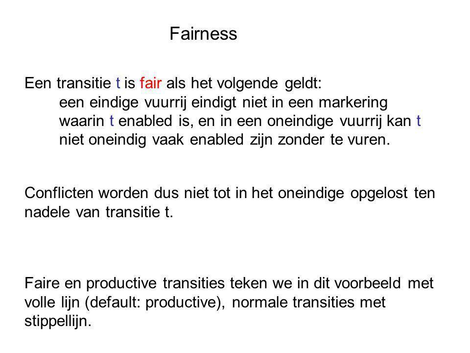 Fairness Een transitie t is fair als het volgende geldt: een eindige vuurrij eindigt niet in een markering waarin t enabled is, en in een oneindige vuurrij kan t niet oneindig vaak enabled zijn zonder te vuren.