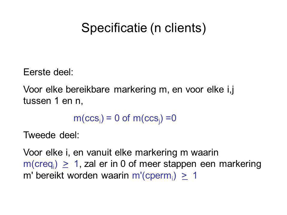 Specificatie (n clients) Eerste deel: Voor elke bereikbare markering m, en voor elke i,j tussen 1 en n, m(ccs i ) = 0 of m(ccs j ) =0 Tweede deel: Voor elke i, en vanuit elke markering m waarin m(creq i ) > 1, zal er in 0 of meer stappen een markering m bereikt worden waarin m (cperm i ) > 1 _ _