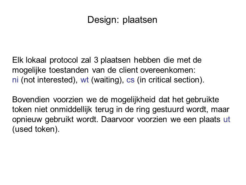 Design: plaatsen Elk lokaal protocol zal 3 plaatsen hebben die met de mogelijke toestanden van de client overeenkomen: ni (not interested), wt (waiting), cs (in critical section).