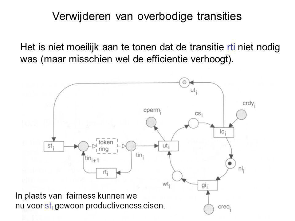 Verwijderen van overbodige transities Het is niet moeilijk aan te tonen dat de transitie rti niet nodig was (maar misschien wel de efficientie verhoogt).