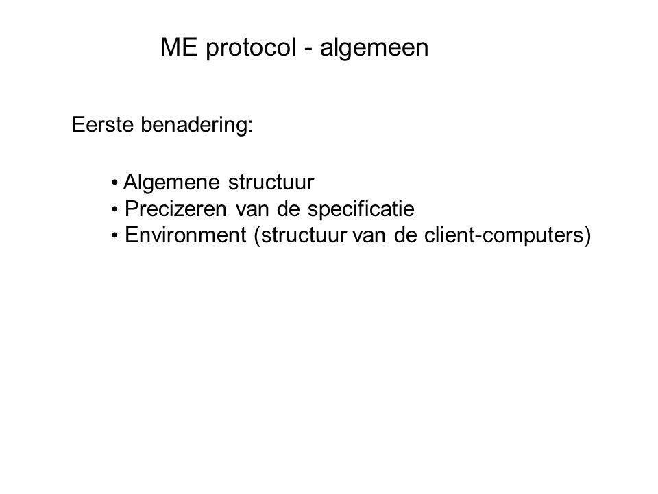 ME protocol - algemeen Eerste benadering: • Algemene structuur • Precizeren van de specificatie • Environment (structuur van de client-computers)