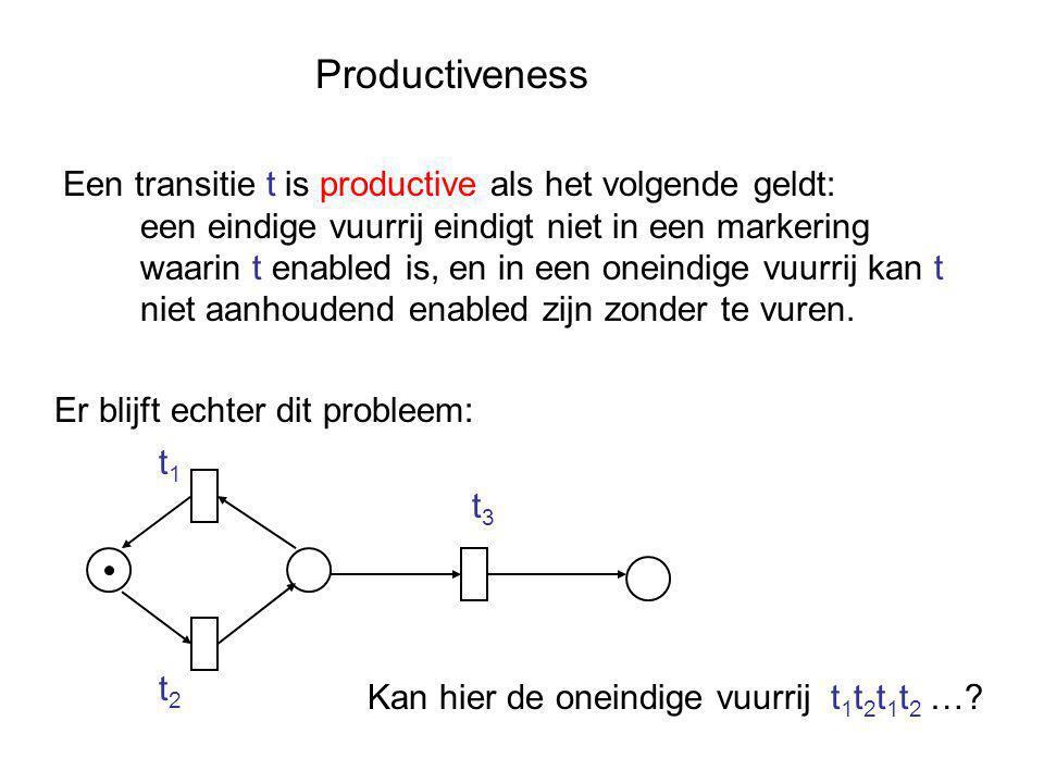 Productiveness Een transitie t is productive als het volgende geldt: een eindige vuurrij eindigt niet in een markering waarin t enabled is, en in een oneindige vuurrij kan t niet aanhoudend enabled zijn zonder te vuren.