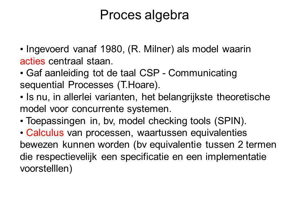 Proces algebra • Ingevoerd vanaf 1980, (R. Milner) als model waarin acties centraal staan. • Gaf aanleiding tot de taal CSP - Communicating sequential