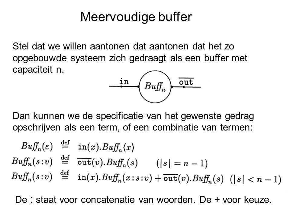 Meervoudige buffer Stel dat we willen aantonen dat aantonen dat het zo opgebouwde systeem zich gedraagt als een buffer met capaciteit n. Dan kunnen we