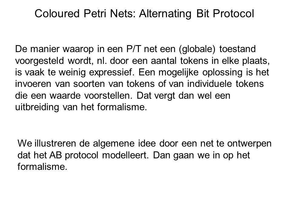 Coloured Petri Nets: Alternating Bit Protocol De manier waarop in een P/T net een (globale) toestand voorgesteld wordt, nl. door een aantal tokens in