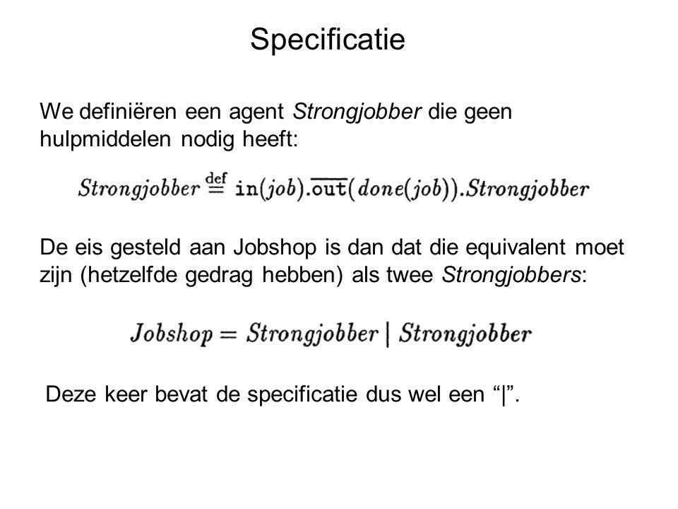 Specificatie We definiëren een agent Strongjobber die geen hulpmiddelen nodig heeft: De eis gesteld aan Jobshop is dan dat die equivalent moet zijn (h