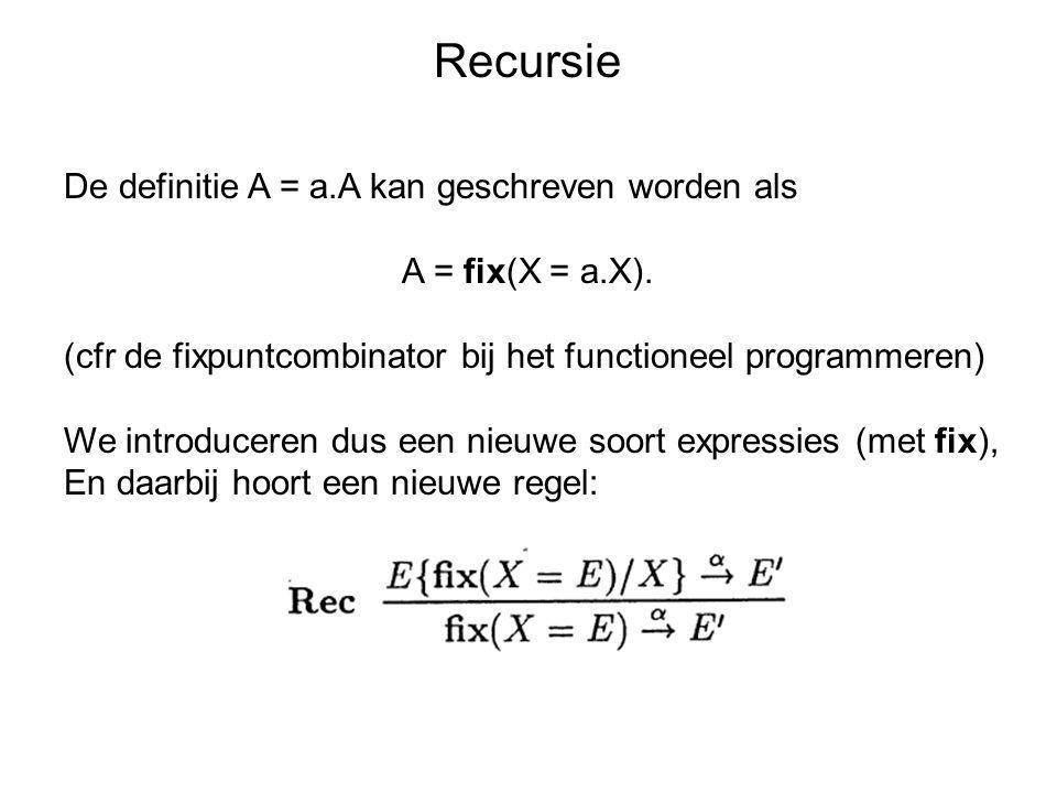 Recursie De definitie A = a.A kan geschreven worden als A = fix(X = a.X). (cfr de fixpuntcombinator bij het functioneel programmeren) We introduceren