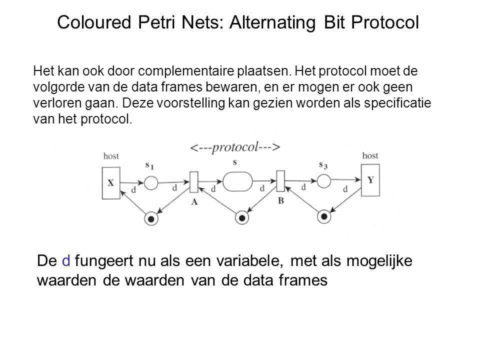 Coloured Petri Nets: Alternating Bit Protocol Dit kan maar gegarandeerd worden door de onderliggende laag (physical layer).