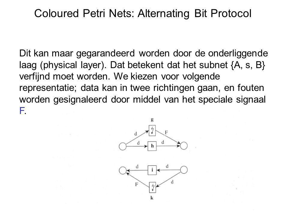 Coloured Petri Nets: Alternating Bit Protocol Dit kan maar gegarandeerd worden door de onderliggende laag (physical layer). Dat betekent dat het subne