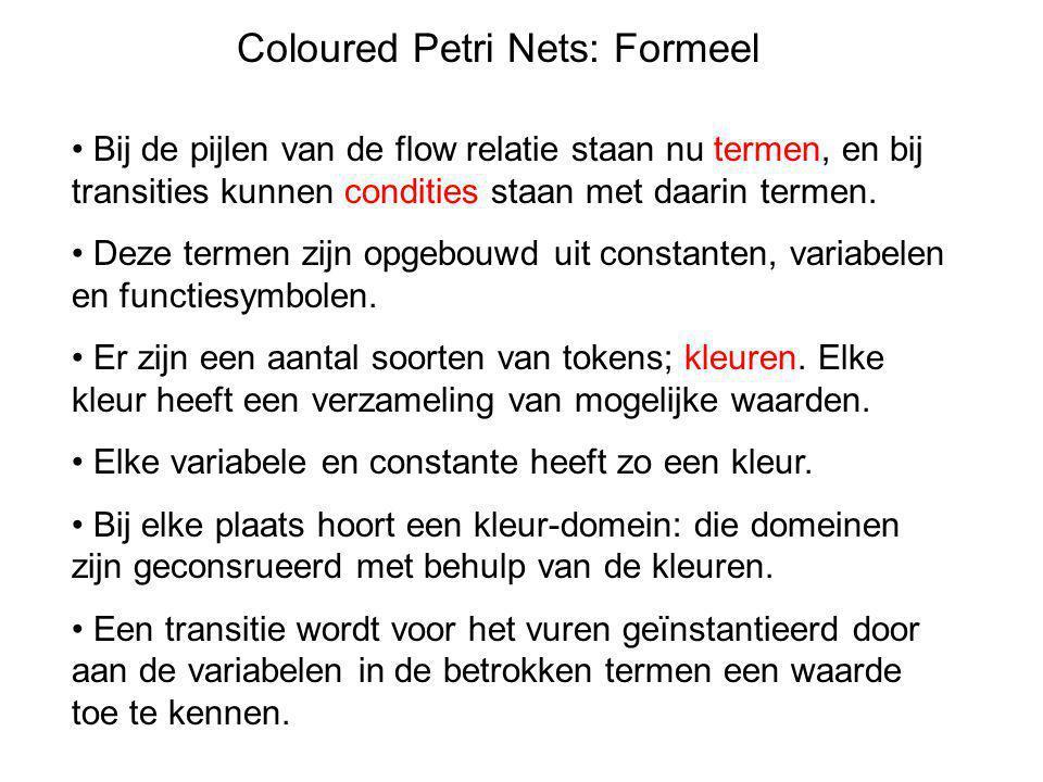 Coloured Petri Nets: Formeel • Bij de pijlen van de flow relatie staan nu termen, en bij transities kunnen condities staan met daarin termen. • Deze t