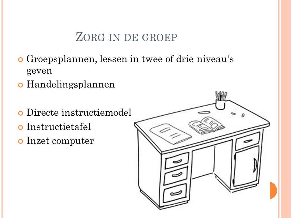Z ORG IN DE GROEP Groepsplannen, lessen in twee of drie niveau's geven Handelingsplannen Directe instructiemodel Instructietafel Inzet computer