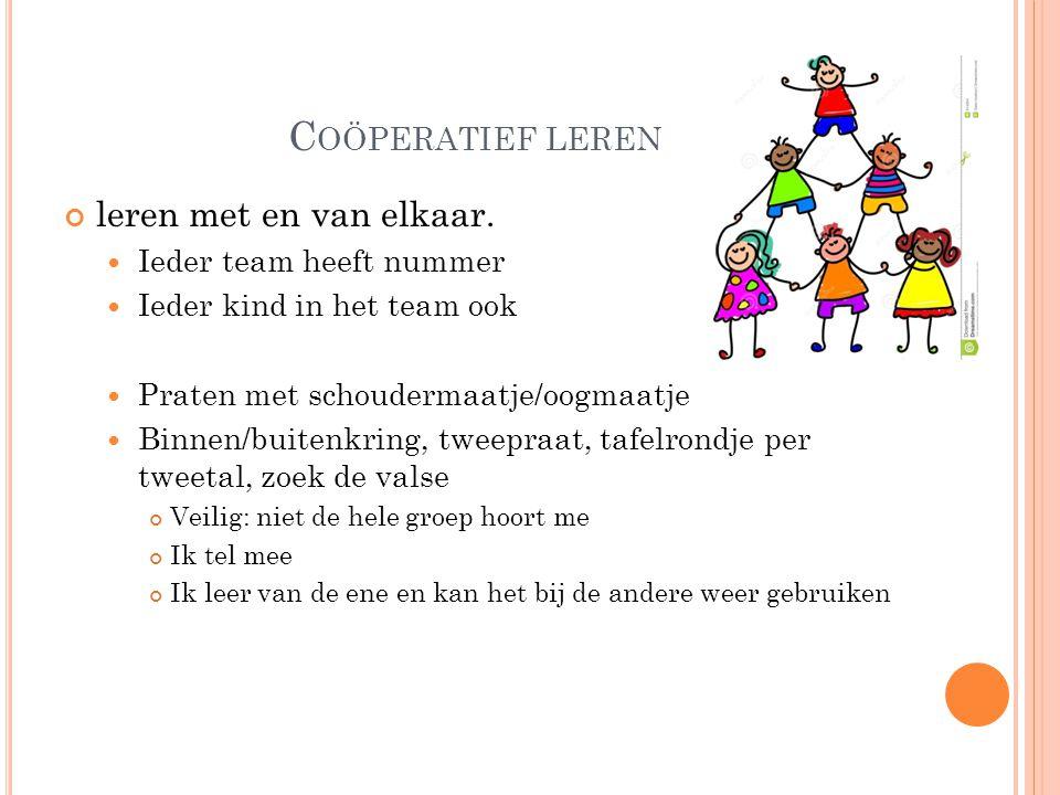 C OÖPERATIEF LEREN leren met en van elkaar.  Ieder team heeft nummer  Ieder kind in het team ook  Praten met schoudermaatje/oogmaatje  Binnen/buit