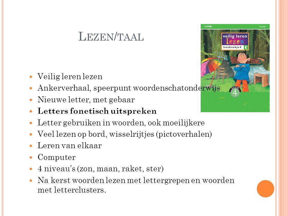 L EZEN / TAAL  Veilig leren lezen  Ankerverhaal, speerpunt woordenschatonderwijs  Nieuwe letter, met gebaar  Letters fonetisch uitspreken  Letter