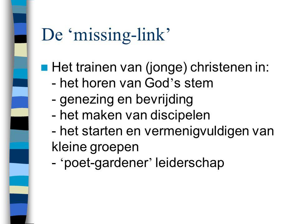 De 'missing-link'  Het trainen van (jonge) christenen in: - het horen van God ' s stem - genezing en bevrijding - het maken van discipelen - het starten en vermenigvuldigen van kleine groepen - ' poet-gardener ' leiderschap