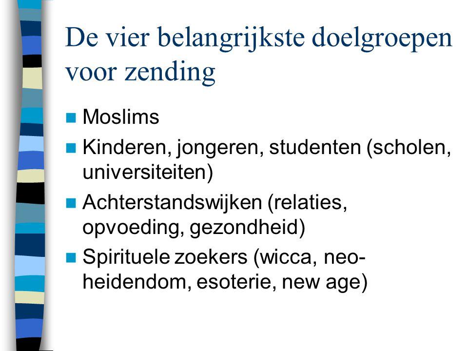 De vier belangrijkste doelgroepen voor zending  Moslims  Kinderen, jongeren, studenten (scholen, universiteiten)  Achterstandswijken (relaties, opvoeding, gezondheid)  Spirituele zoekers (wicca, neo- heidendom, esoterie, new age)