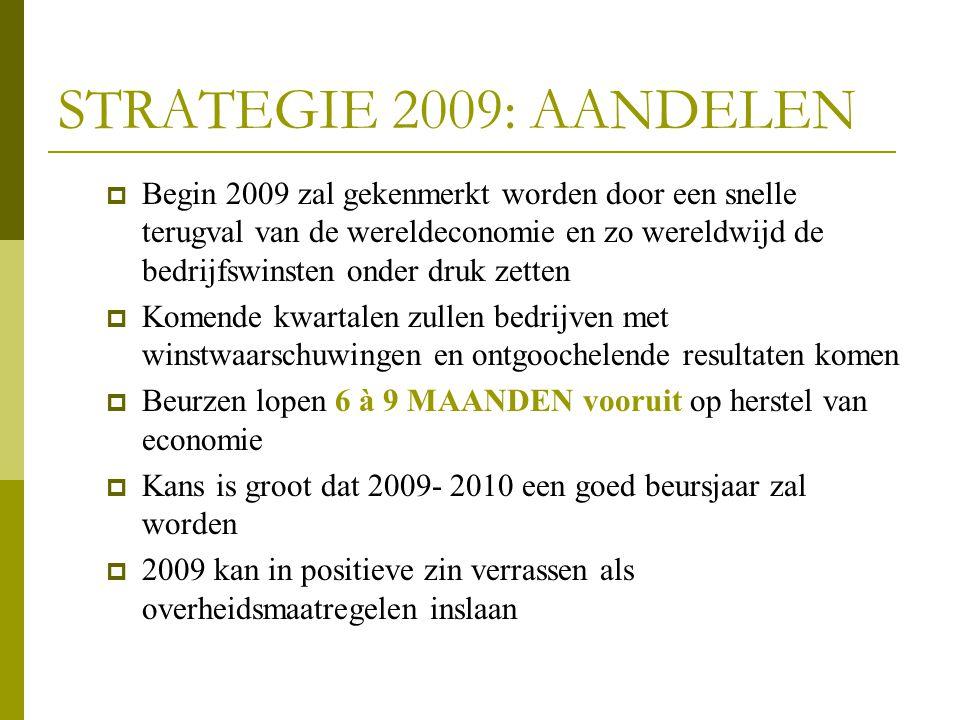 STRATEGIE 2009: AANDELEN  Begin 2009 zal gekenmerkt worden door een snelle terugval van de wereldeconomie en zo wereldwijd de bedrijfswinsten onder d
